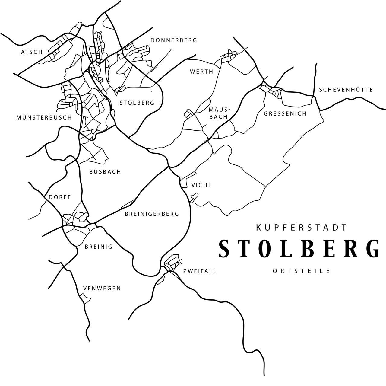 Karte von Stolberg (Rhld) stilisiert