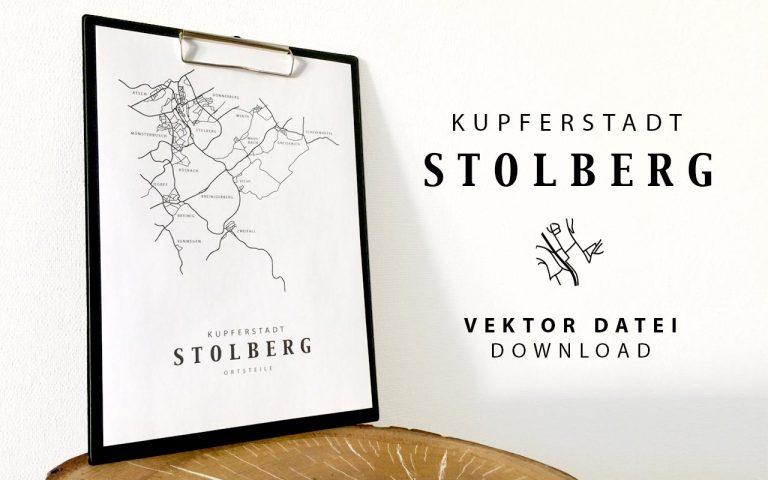 Stadt Stolberg Rhld. Karte schwarz weiß