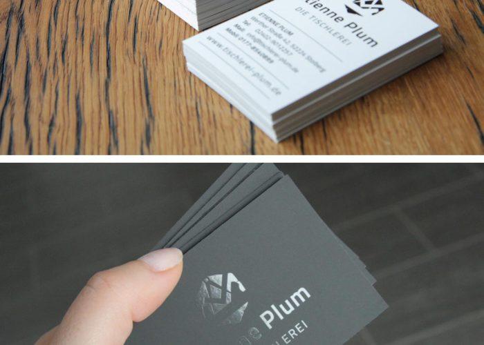 Visitenkarten Design Tischlerei Plum